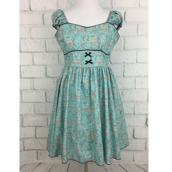 Lolita Girl Dresses & Skirts - Lolita Girl Eiffel Tower Print Retro Pinup Dress